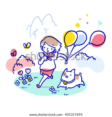 Kid holding balloons running after butterfly in the field with her dog