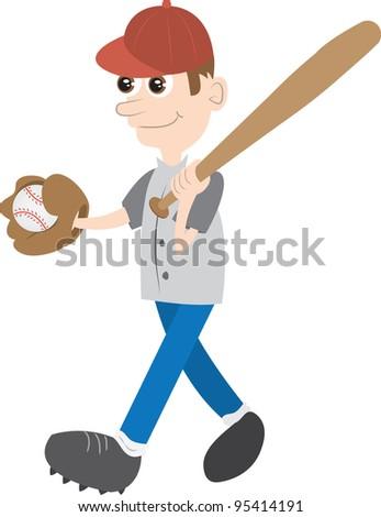 Kid holding baseball bat and ball - stock vector