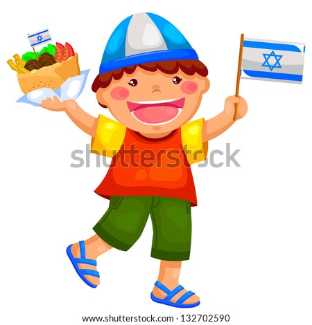 kid holding the Israeli flag and eating falafel (JPEG available in my gallery) - stock vector