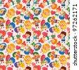 kid hug heart seamless pattern - stock vector