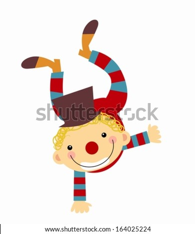 kid in clown costume - stock vector