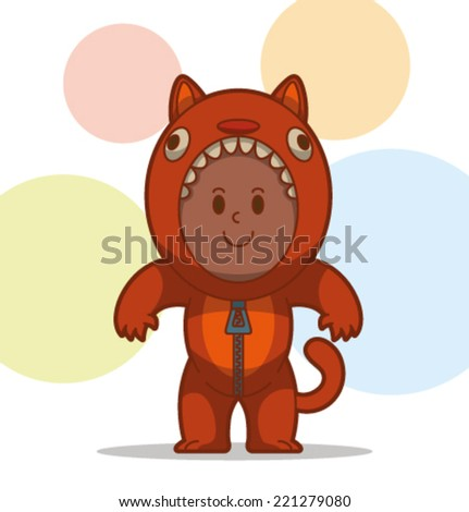 kid in the animal costume, cat, vector - stock vector