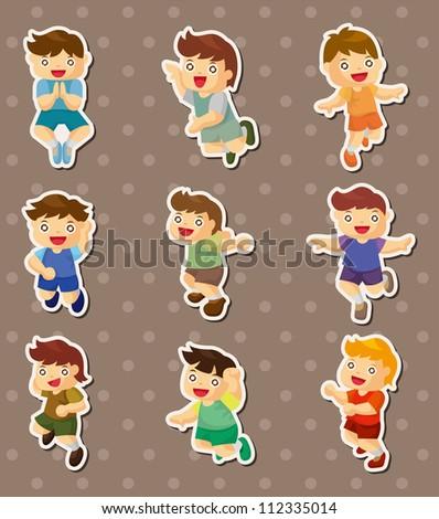 kid jump stickers - stock vector