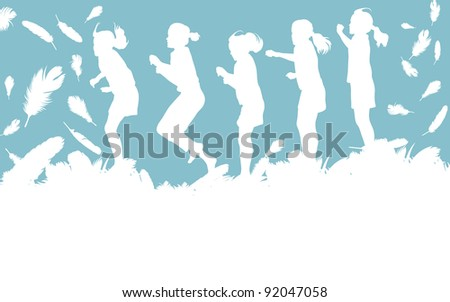 Kid jumping in feathers vector background with copy space for text - stock vector