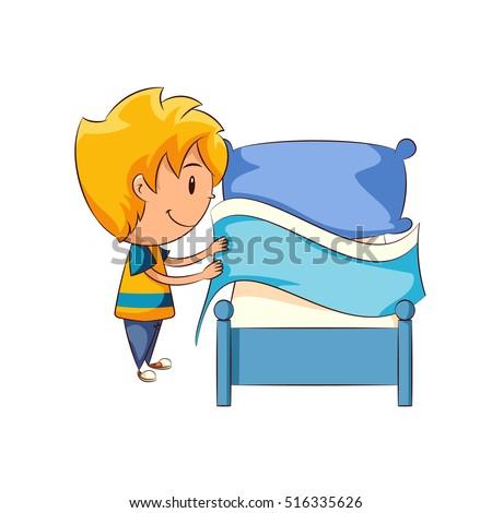 kid making bed stock vector 516335626 - shutterstock