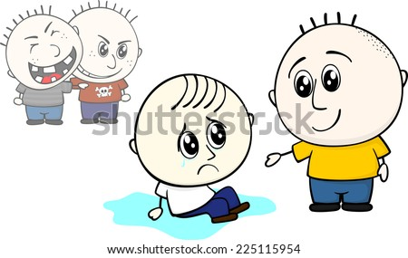 kid offers help to stand up to bullied little child  - stock vector