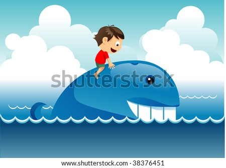 kid on whale - stock vector