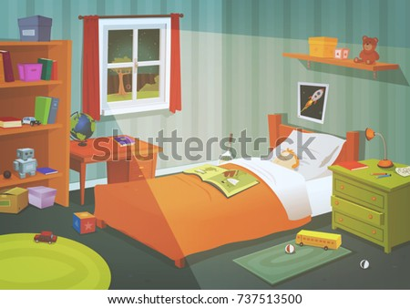 Kid Or Teenager Bedroom In The Moonlight Illustration Of A Cartoon With Boy