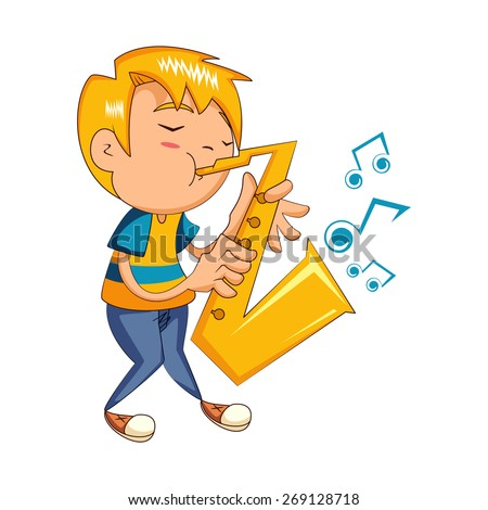 Kid playing sax, vector illustration - stock vector