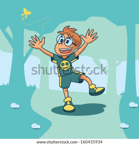 Kid Playing With Playing With Butterfly Vector Illustration - stock vector