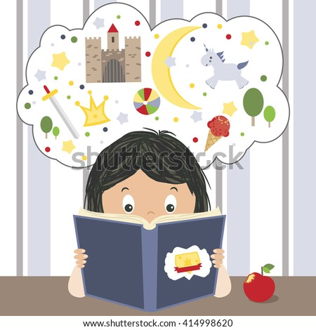 Kid reading fairy tales book and dreaming about adventures, unicorns, castle, swords vector illustration. Child reading a book, boy or girl reading - stock vector