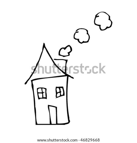 kid's drawing of a house