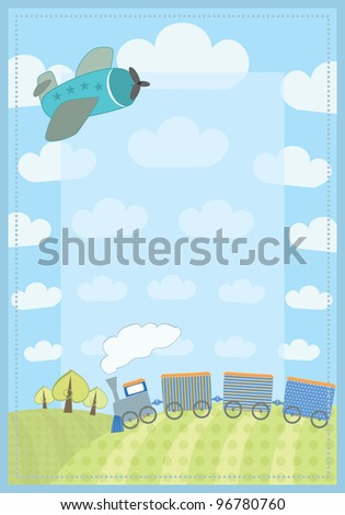kid's frame with train and plane - stock vector