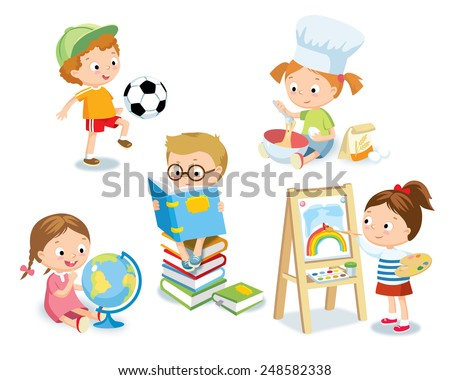 kid's hobbies - stock vector