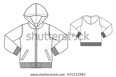 Kids Hoodie Fashion Technical Sketch Template Stock Vector 431312983 ...