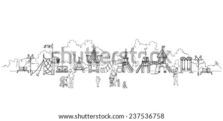 Kid's playground in residential area. Sketch collection - stock vector