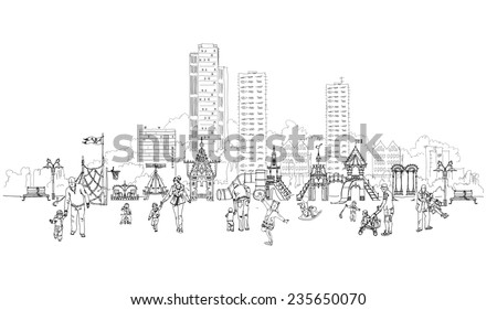 Kid's playground in residential aria illustration - stock vector