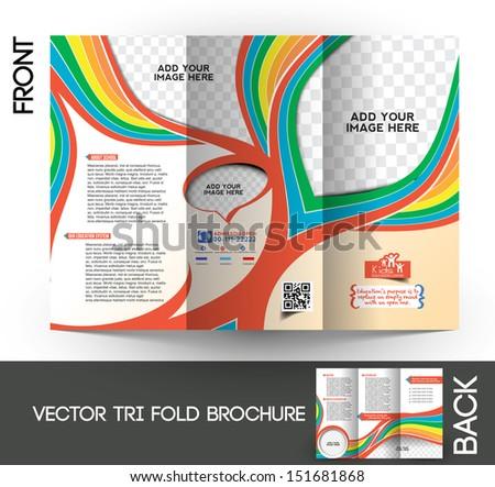 Kid's School Tri-Fold  Mock up & Brochure Design  - stock vector