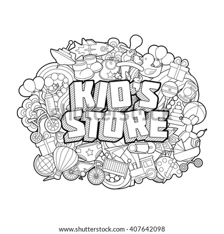 Kid`s Store - Hand Lettering and Doodles Elements Sketch.Vector illustration - stock vector