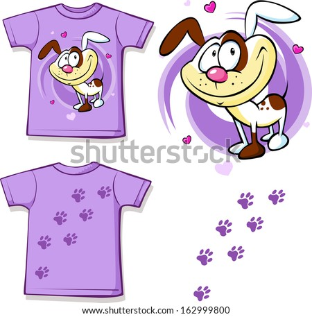 kid shirt with cute dog printed - isolated on white, back and front view  - stock vector