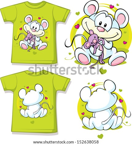 kid shirt with cute mouse printed - isolated on white  - stock vector
