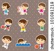 kid sport stickers - stock vector