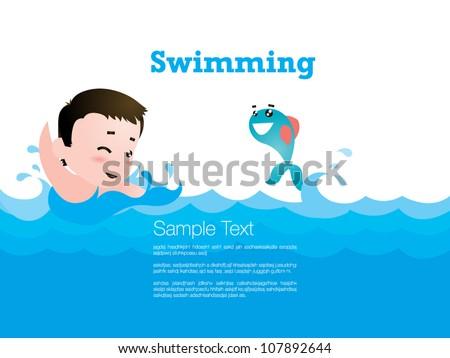 Kid Swiming - stock vector