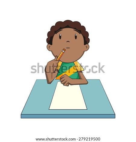 Kid thinking, looking up, vector illustration - stock vector