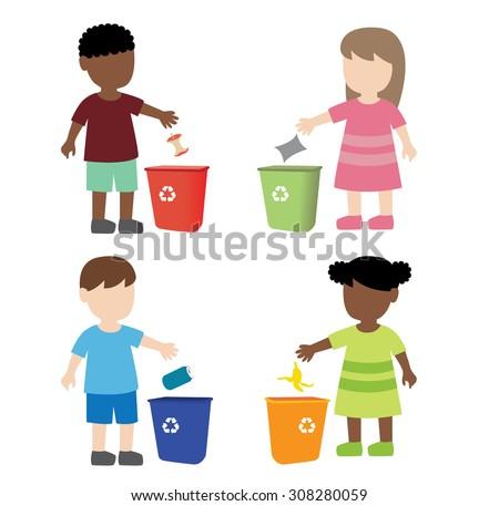 Kid throwing garbage trash bin stock vector 308280059 - Put cotton ball trash can ...