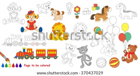 Kid Toys Big Coloring Book Colorless Stock Vector 370437029 ...