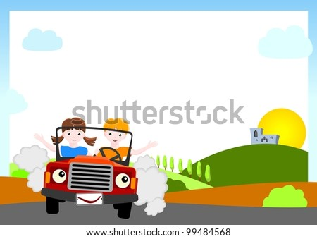 kid vector background - boy and girl in red car with medieval castle and sun