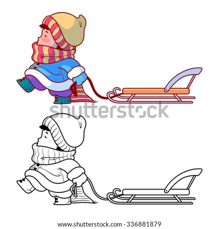 kid walking sled winter holiday cute stock photo photo vector rh shutterstock com winter holiday clip art free images winter holiday clip art free images