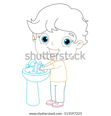 Kid Washing Hands Coloring Page Illustration