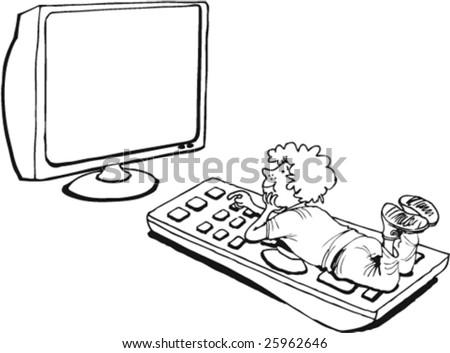 watching tv clipart black and white. kid watching tv on a remote-control tv clipart black and white k