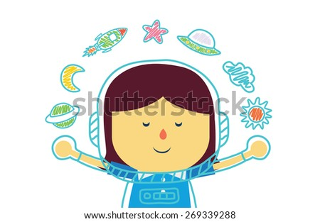 Kid who dreams of being in space with color pencil drawing : girl version - stock vector