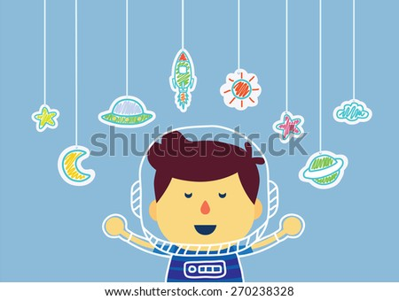 Kid who imagine about being in space with hanging by color pencil drawing, he is fun and have good progress - stock vector