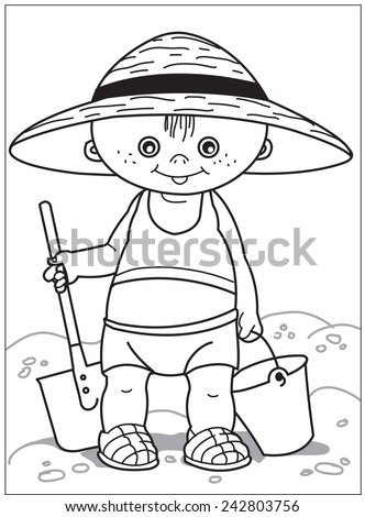Kid With Shovel And Bucket The Little Boy Big Hat A
