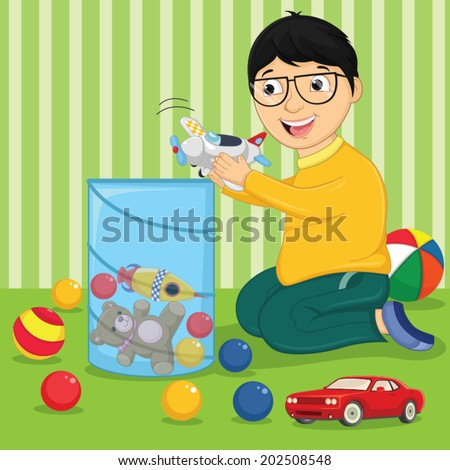 Kid with Toys Vector Illustration - stock vector