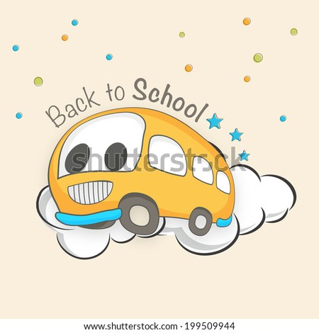 Kiddish illustration of a bus on beige background, Back to school concept.  - stock vector