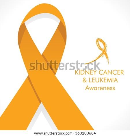 Kidney cancer & leukemia cancer awareness - orange ribbon color - stock vector