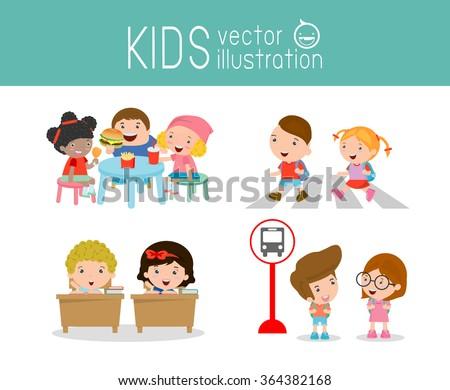 kids activity in the kindergarten and outdoor , Children having food at the kindergarten ,kids walking across zebra crossing, child waiting at bus stop, kids in classroom, education, back to school, - stock vector