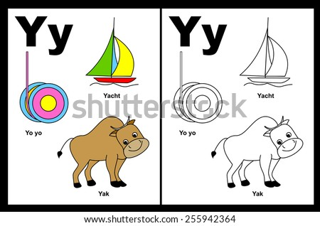 Kids alphabet coloring book page with outlined clip arts to color. Letter Y - stock vector