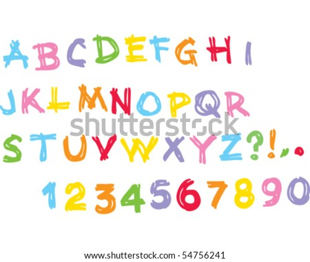 Kids alphabet Uppercase - stock vector