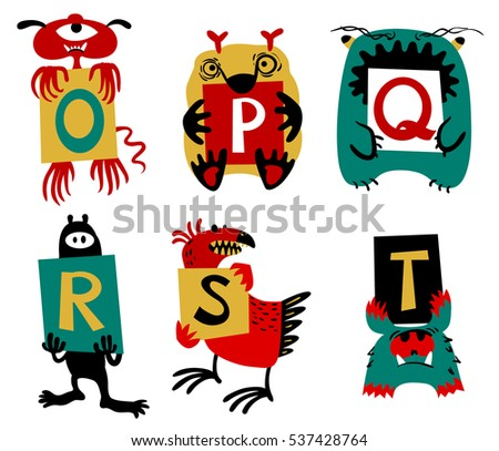 Kids alphabet with cute colorful monsters or insects. Funny fictional character with letters in their paws. Vector illustration for school and education