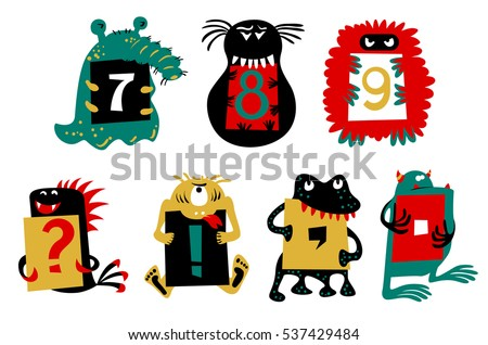 Kids alphabet with cute colorful monsters or insects. Funny fictional character with numbers  in their paws. Vector illustration for school and education