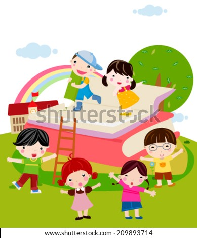 Kids and book - stock vector