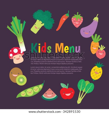 Kids and children meal menu vector template