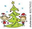 kids  and christmas tree - stock photo