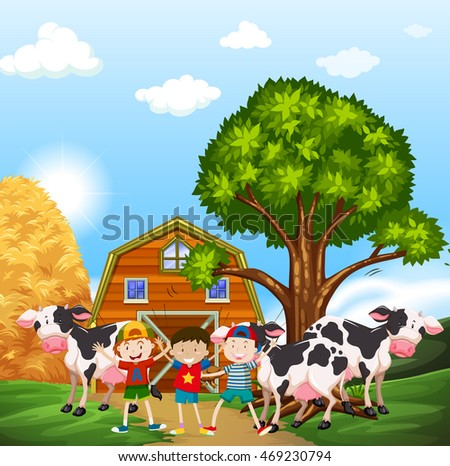 Kids and cows in the farmyard illustration