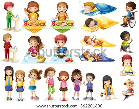 Kids and different routines illustration - stock vector